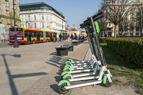 Electric scooters sharing in Warsaw Photo