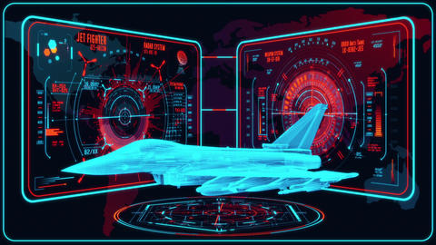 3D Red Blue Jet Fighter HUD Interface Motion Graphic Element Animation