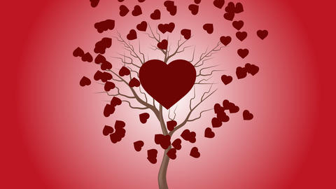The red heart beats by the tree and more hearts move in the background Animation