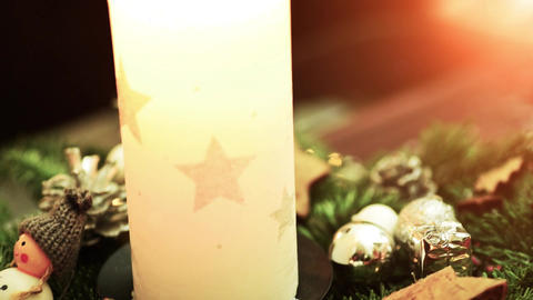 christmas decoration close up. Electric bulb shine with... Stock Video Footage