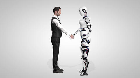 Businessman shaking hands with a woman robot with artificial intelligence Footage