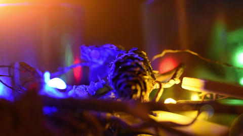 christmas decoration close up. Electric bulb shine with christmas elements as Live Action