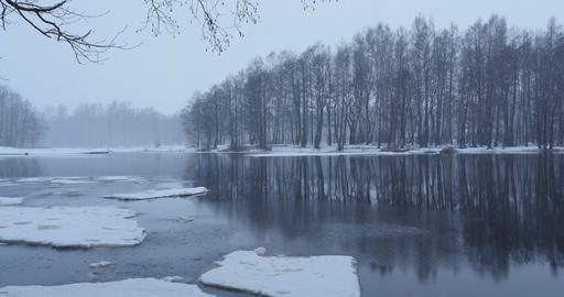 On the river bank winter landscape Footage