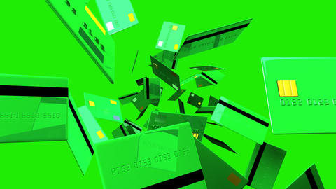 Green Credit cards on green background Animation