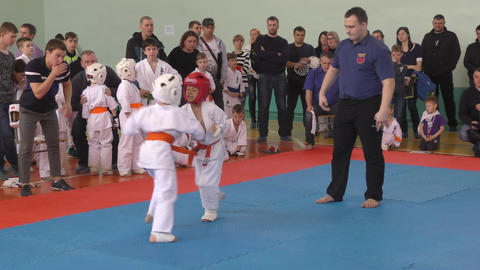 Orenburg, Russia - April 7, 2019 year: Boys compete in karate GIF