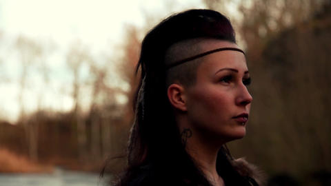 close up face beautyful Viking woman Stock Video Footage