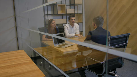 Young manager offering important profitable contract to married couple Footage
