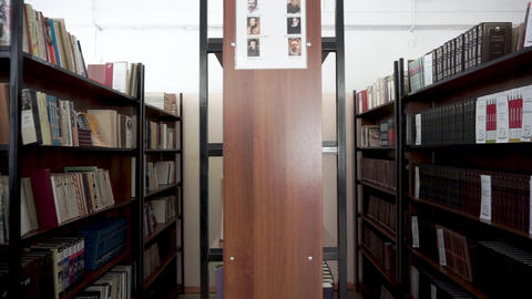Books on the shelf. School library Footage