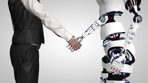 Businessman shaking hands with a robot with artificial intelligence. Handshake Footage