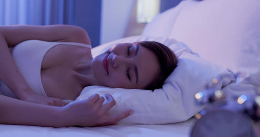 woman sleep well on bed Stock Video Footage