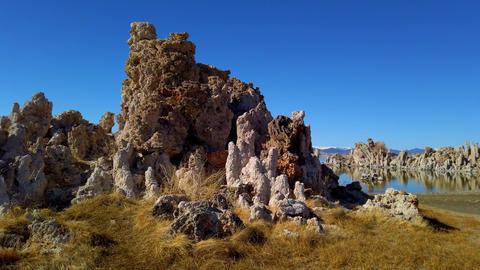 Tufa towers columns of limestone at Mono Lake in California - travel photography Footage