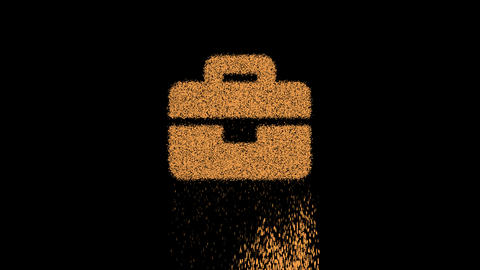 Symbol briefcase appears from crumbling sand. Then crumbles down. Alpha channel Premultiplied - Animation