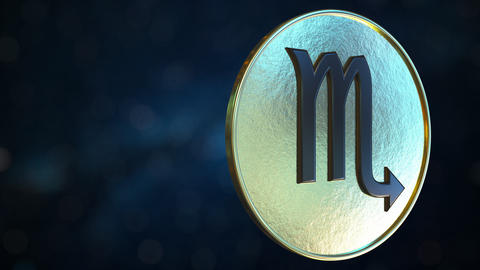 Gold token with Scorpio Zodiac sign. Loopable motion background Live Action