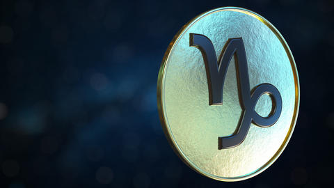 Gold token with Capricorn Zodiac sign. Loopable motion background Live Action