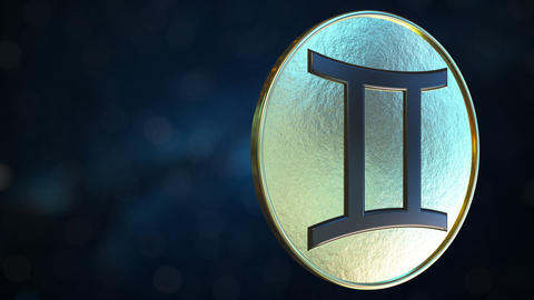 Gold token with Gemini Zodiac sign. Loopable motion background Live Action