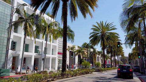 Driving through exclusive Rodeo Drive in Beverly Hills - LOS ANGELES, USA - Live Action