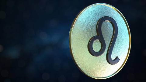 Gold token with Leo Zodiac sign. Loopable motion background Live Action