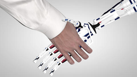 Businessman shaking hands with a robot with artificial intelligence. Handshake GIF