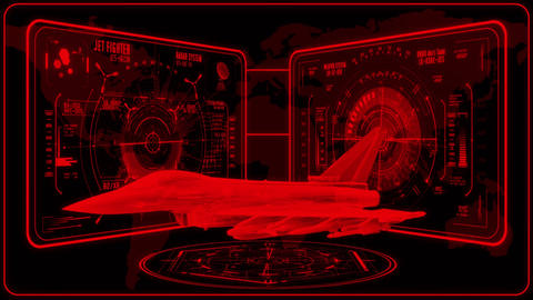 3D Red Jet Fighter HUD Interface Motion Graphic Element Animation