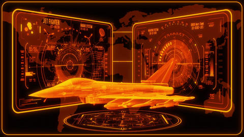 3D Gold Jet Fighter HUD Interface Motion Graphic Element Animation