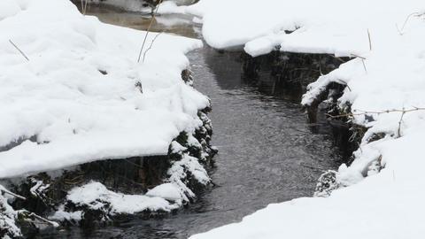 Winter creek under the snow Footage