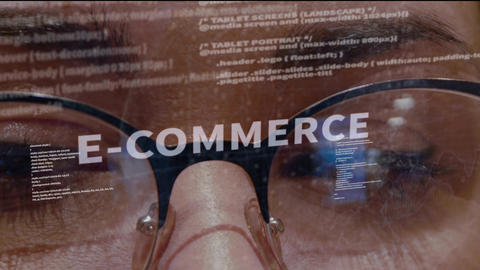 E-commerce text on background of developer Live Action