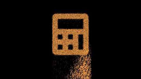 Symbol calculator appears from crumbling sand. Then crumbles down. Alpha channel Premultiplied - Animation