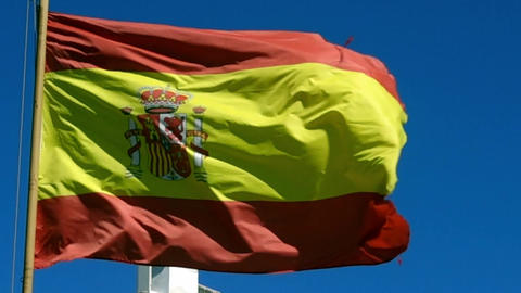 Spanish flag in wind Archivo