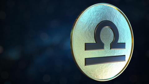 Gold token with Libra Zodiac sign. Loopable motion background Live Action