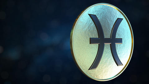 Gold token with Pisces Zodiac sign. Loopable motion background Live Action