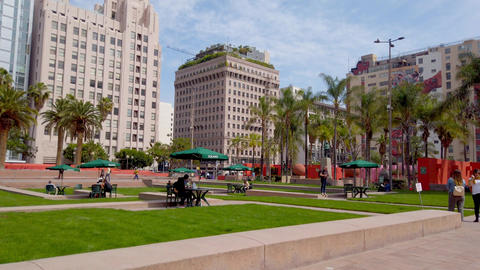 Realaxing at Pershing Square Los Angeles Downtown - LOS ANGELES, USA - APRIL 1 Live Action