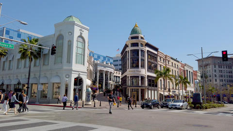 Driving through exclusive Rodeo Drive in Beverly Hills - LOS ANGELES, USA - Footage