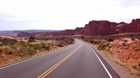 Driving through Arches National Park - travel photography Footage