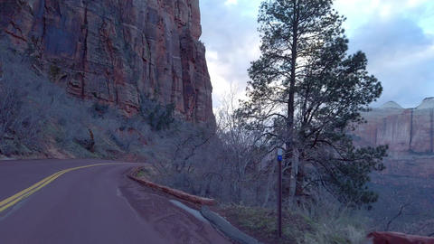 Driving through Zion Canyon National Park in Utah - travel photography Footage