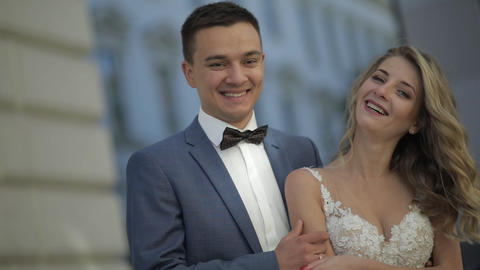 Wedding couple. Lovely groom and bride. Happy family. Man and woman in love Footage