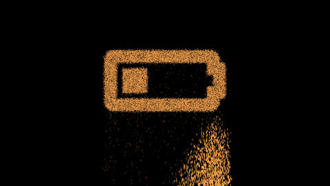 Symbol battery quarter appears from crumbling sand. Then crumbles down. Alpha channel Premultiplied Animation