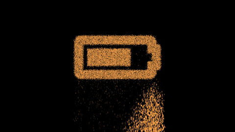 Symbol battery three quarters appears from crumbling sand. Then crumbles down. Alpha channel Animation