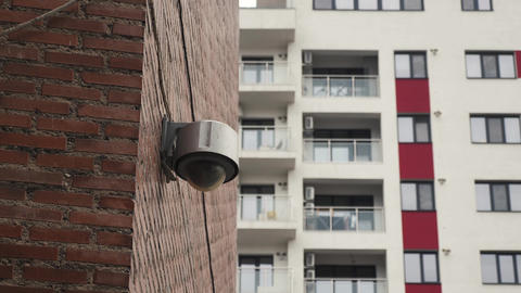 Dome surveillance camera on the apartment block Footage