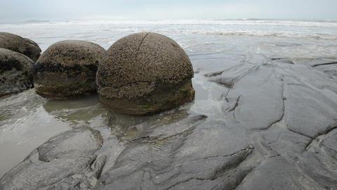 Impressive Moeraki boulders in the Pacific Ocean waves Footage