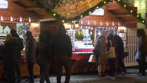 People at Christmas market Footage