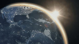 Realistic sunrise over the planet Earth ビデオ