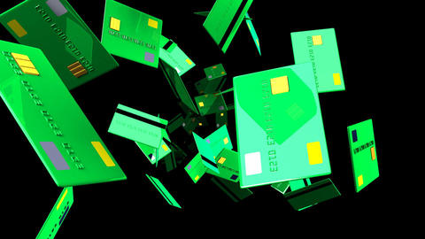 Green Credit cards on black background Animation