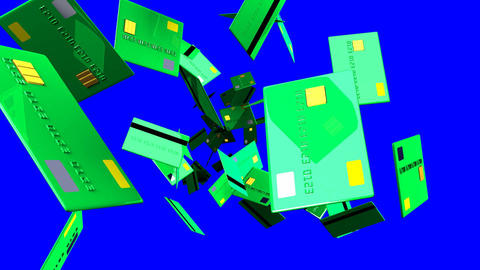 Green Credit cards on blue chroma key Animation