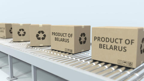 Boxes with PRODUCT OF BELARUS text on roller conveyor. Belarusian import or Footage
