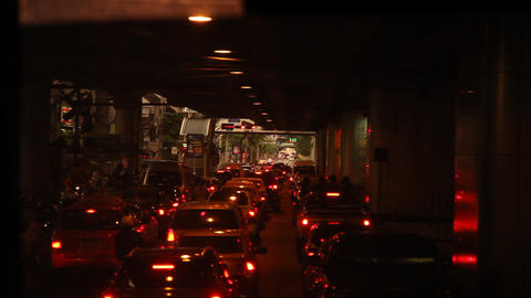 Night traffic in Bangkok Live Action