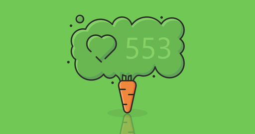 concept vegan carrot and social network like icon with counter numerals Footage