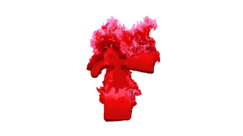 Symbol fire extinguisher inflames with dark fire, then burns. In - Out loop. Alpha channel Animation