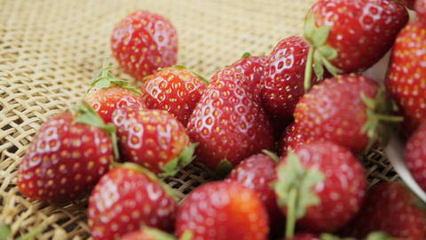 Dolly shot of red strawberries fruit Live Action
