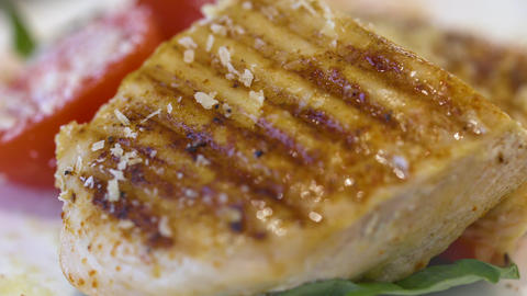 Chicken Steak And Tomato Stock Video Footage