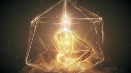 Meditation of a Man in Golden Geometry Lighting up through Chakra Activation Animación